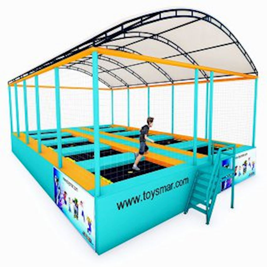 Commercial Junior Roofed Trampoline for 10 People Amusement Park