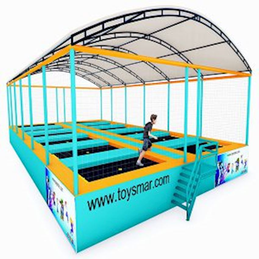 Commercial Junior Roofed Trampoline for 12 People Amusement Park