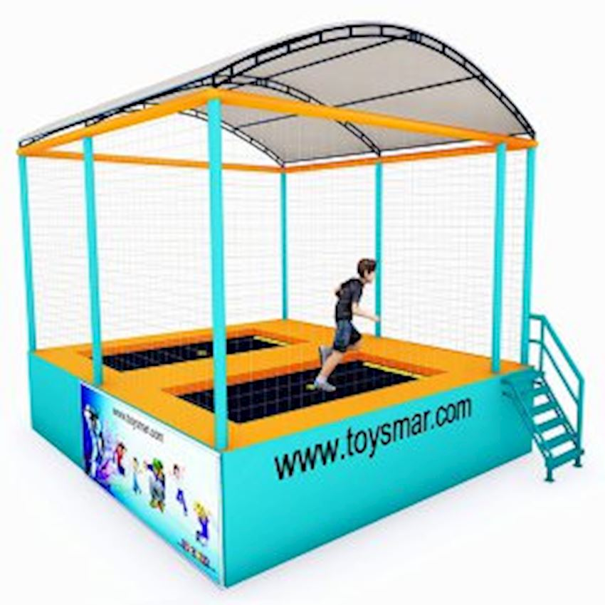 Commercial Junior Roofed Trampoline for 2 People Amusement Park
