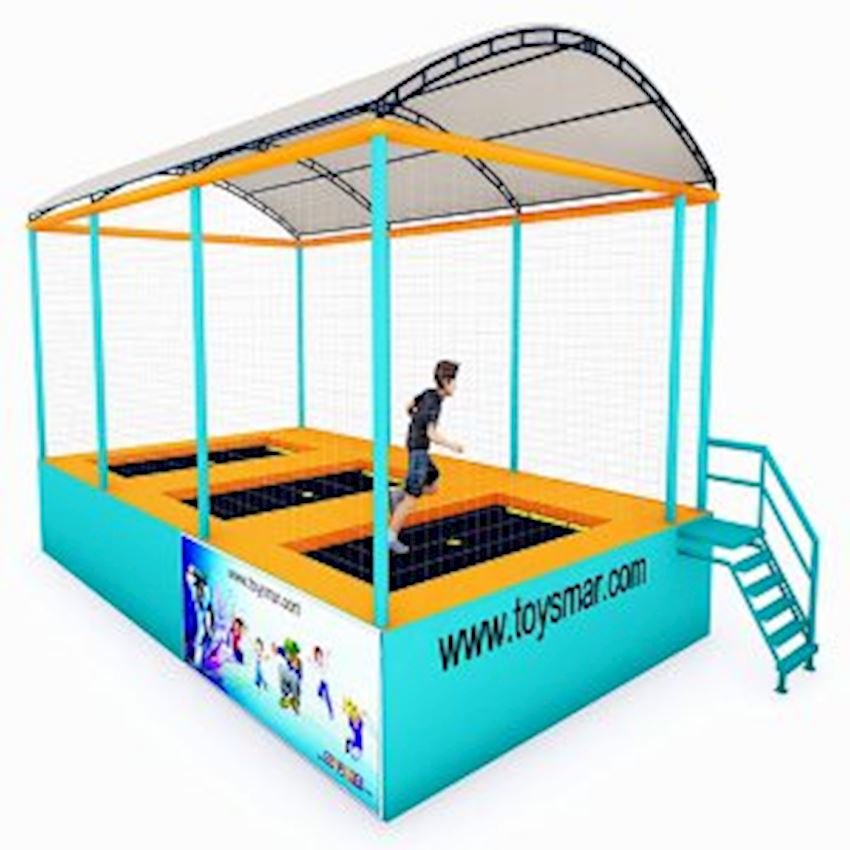 Commercial Junior Roofed Trampoline for 3 People Amusement Park