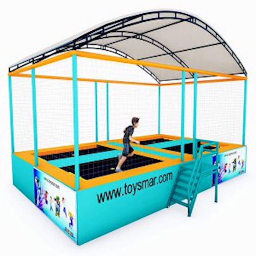 Commercial Junior Roofed Trampoline for 4 People Amusement Park