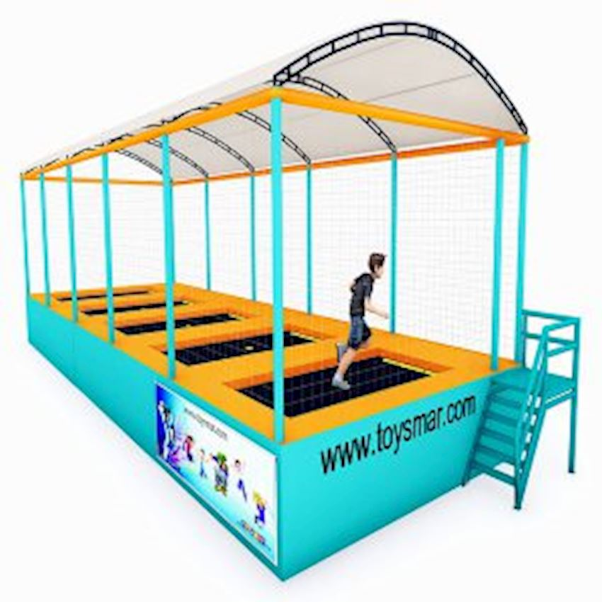 Commercial Junior Roofed Trampoline for 5 People Amusement Park