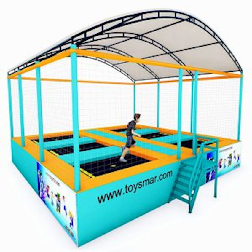 Commercial Junior Roofed Trampoline for 6 People Amusement Park