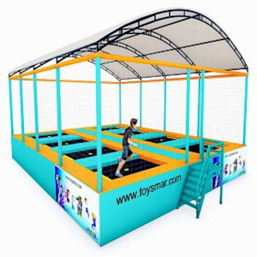 Commercial Junior Roofed Trampoline for 8 People Amusement Park