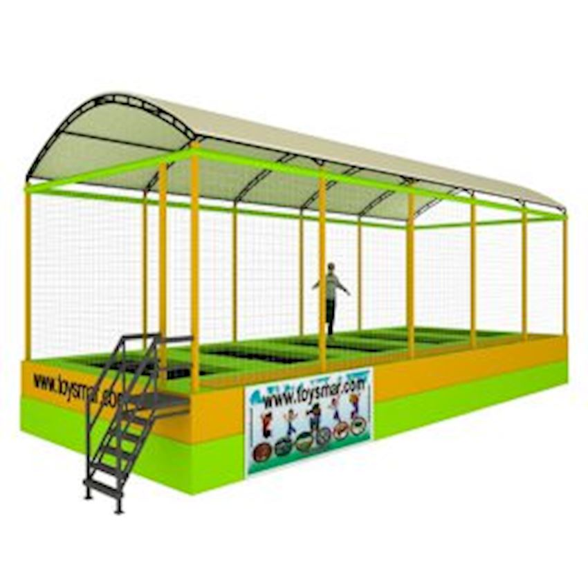 Commercial Olympic Roofed Trampoline 5 People Amusement Park