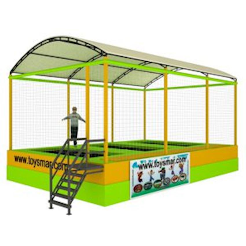 Commercial Olympic Roofed Trampoline for 3 People Amusement Park