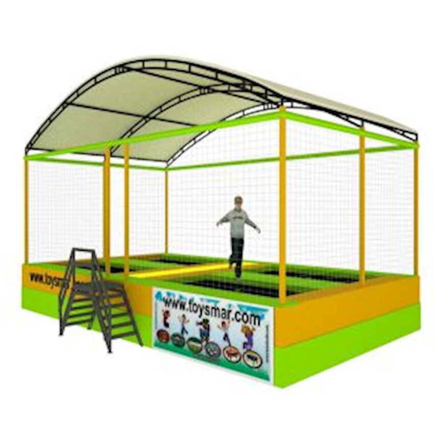 Commercial Olympic Roofed Trampoline for 4 People Amusement Park