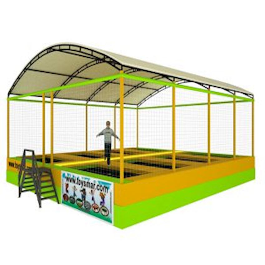 Commercial Olympic Roofed Trampoline for 8 People Amusement Park