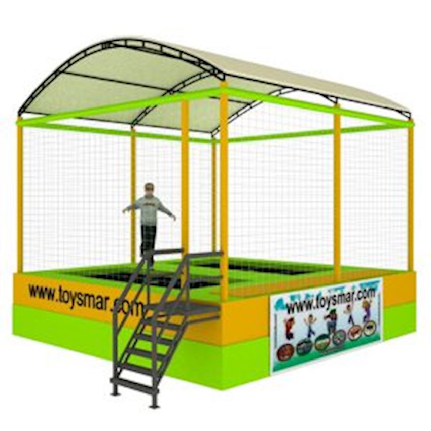 Commercial Roofed Olympic Trampoline for 2 People Amusement Park