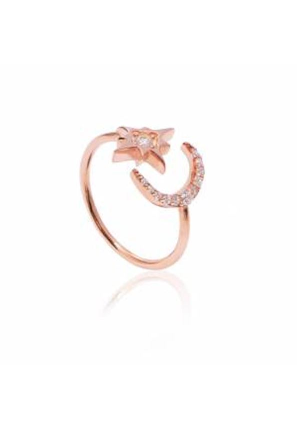 Crescent and Moon Ring
