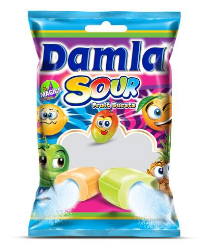 Damla Sour Fruit Flavoured Soft Candy With Powder Filling (Orange