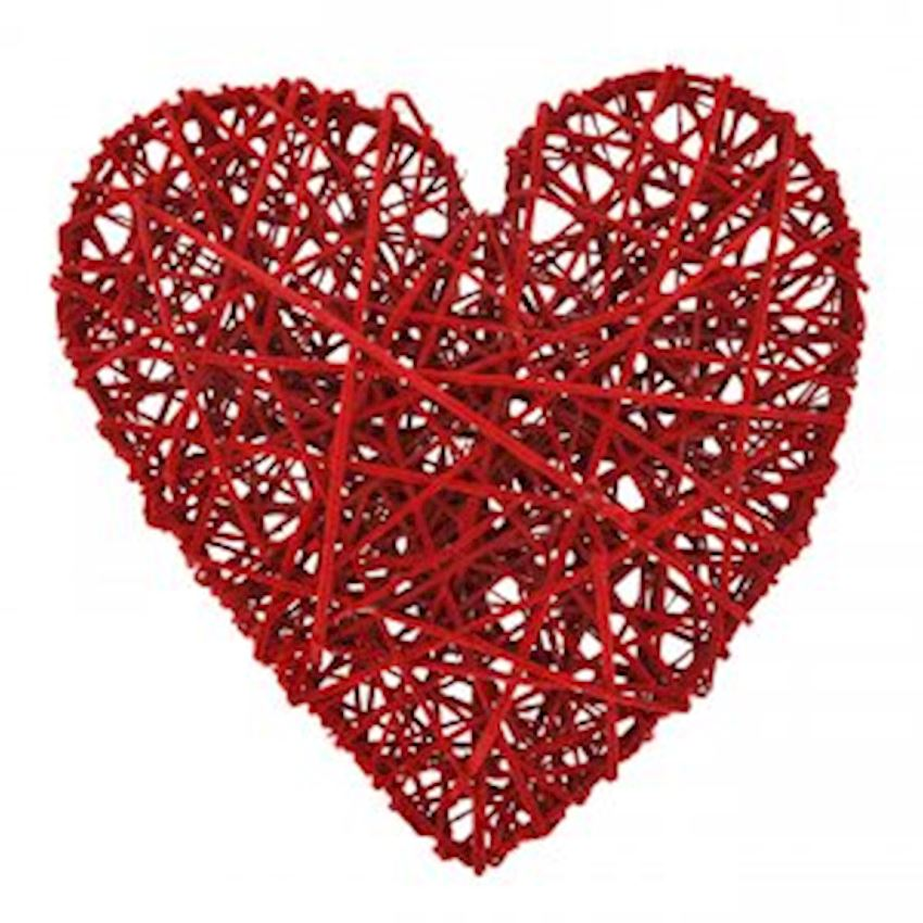 Decorative Wooden Heart Ornament Red 40cm Christmas Decoration Supplies