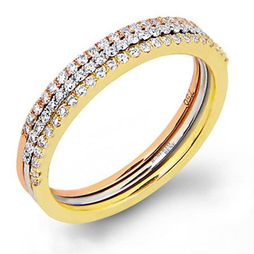 Diamond Triple Half Wedding Ring 0.42 Carat