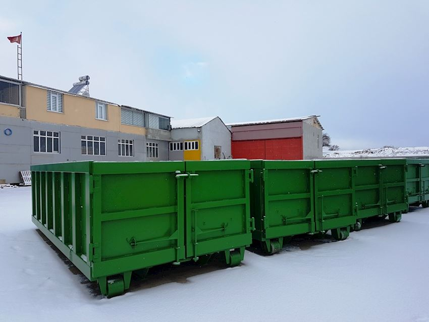 double rear cover 15m3 roll off containers