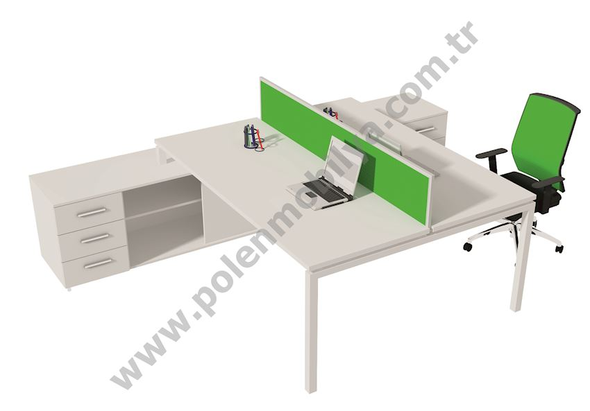 Double Working Group with Shelf: 180x320x75h