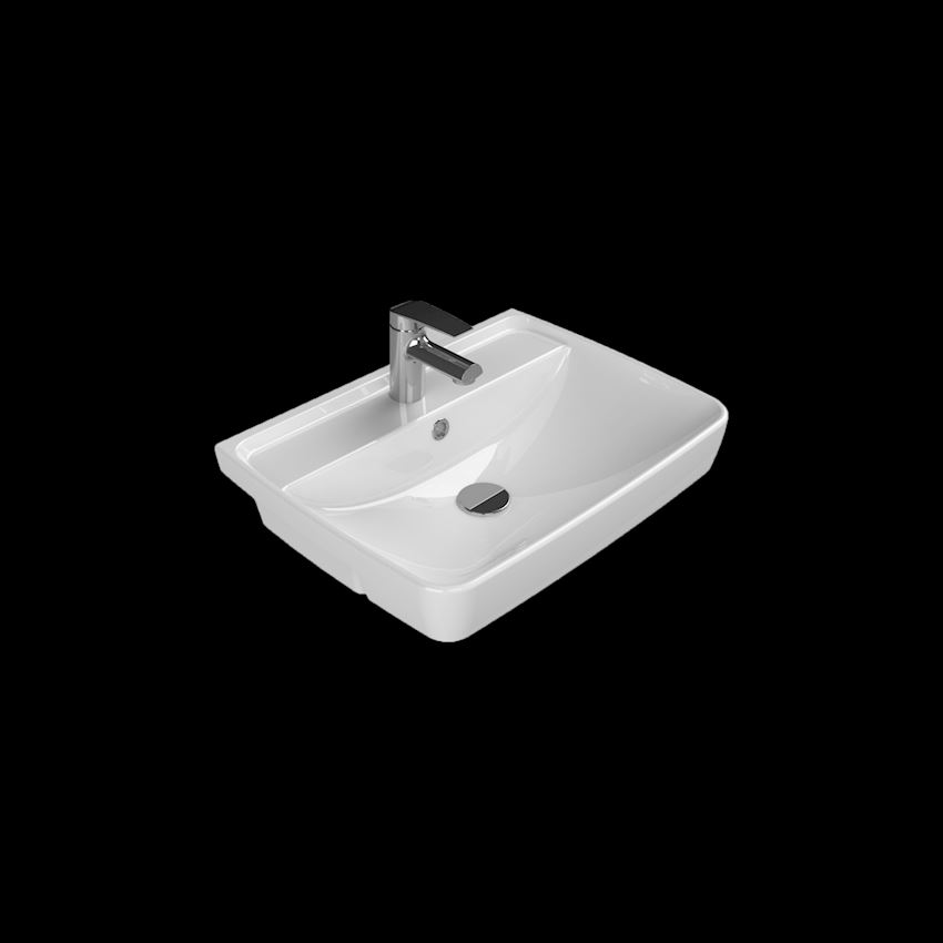 Duru Semi-Recessed Basin, 56×43 cm Bathroom Sinks