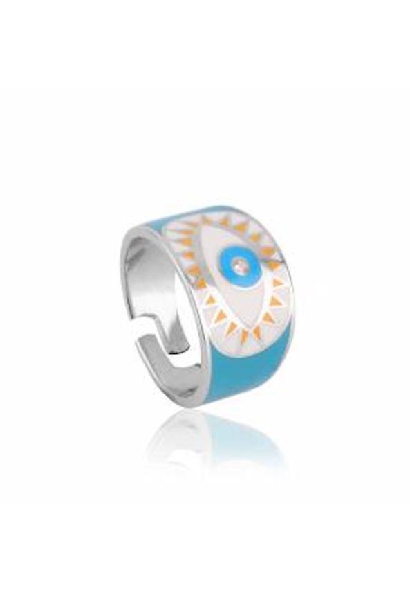 Enameled Eye Sparrow Finger Ring Rodium