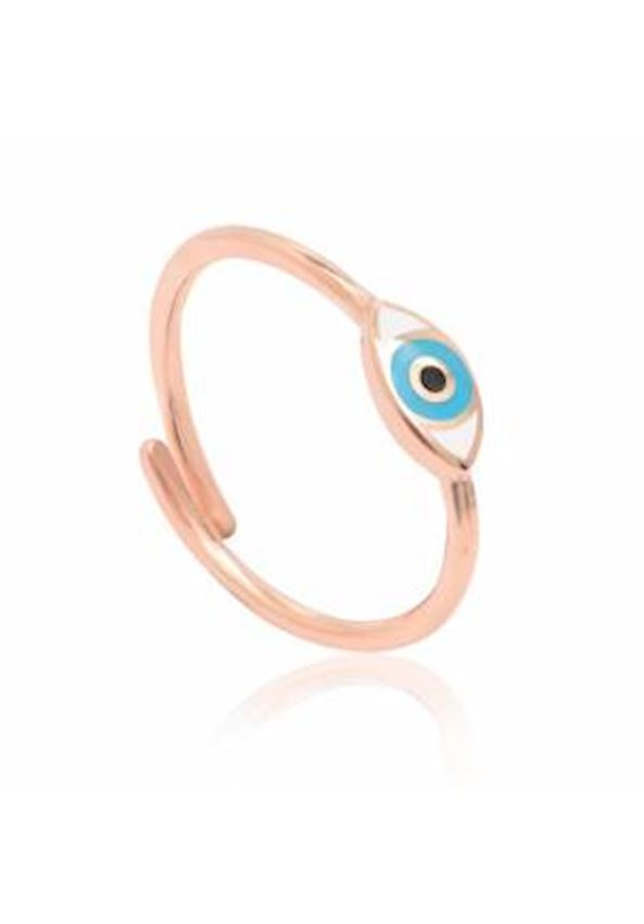 Enameled Silver Eye Sparrow Finger Ring