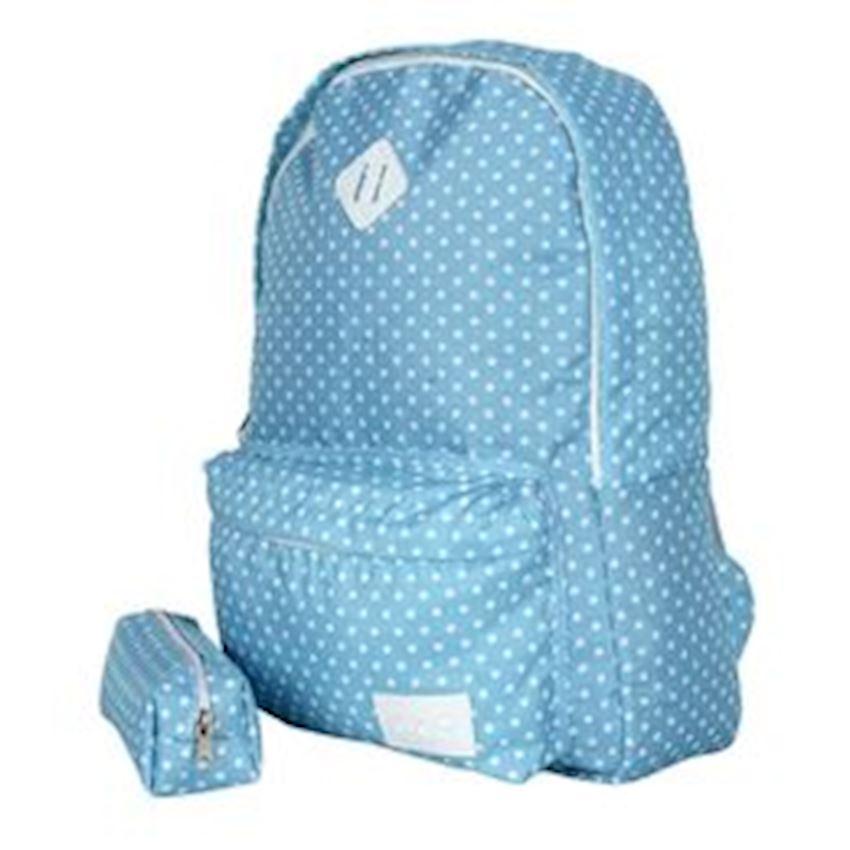 Eye-Q Blue Polka Dot Pencil Bag Bundle School Bag Backpacks