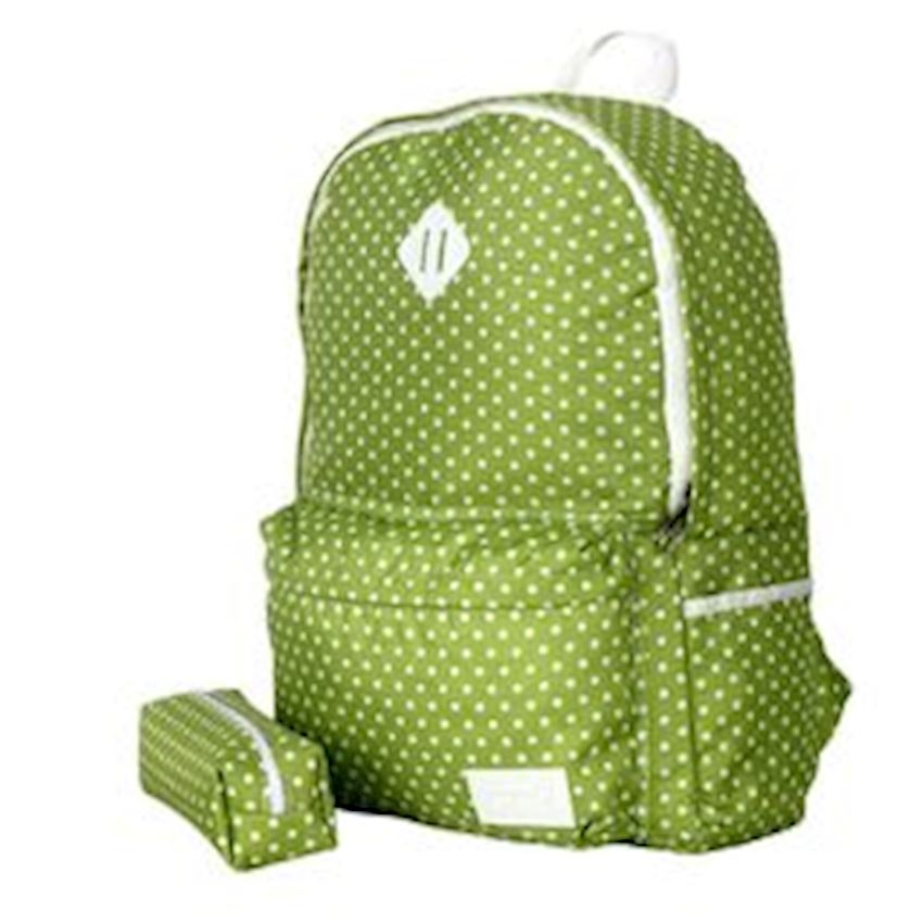 Eye-Q Green Polka Dot Pencil Bag Bundle School Bag - Backpacks