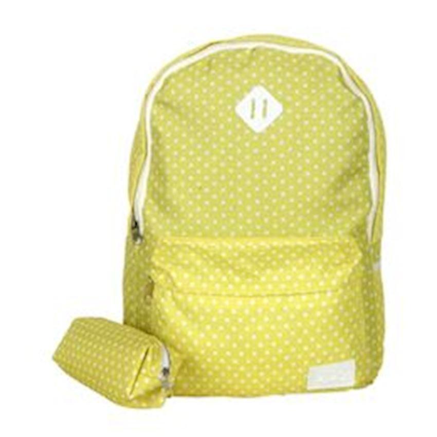 Eye-Q Yellow Polka Dot Pencil Bag Bundle School Bag Backpacks