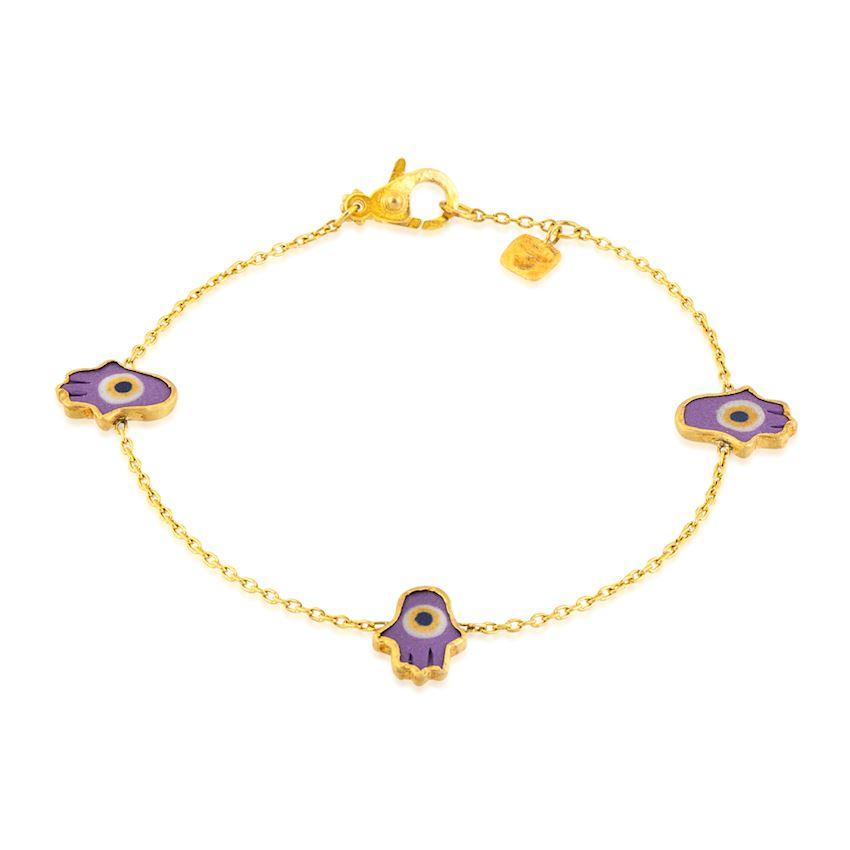 Fatma's Hand Purple Colored Bracelet