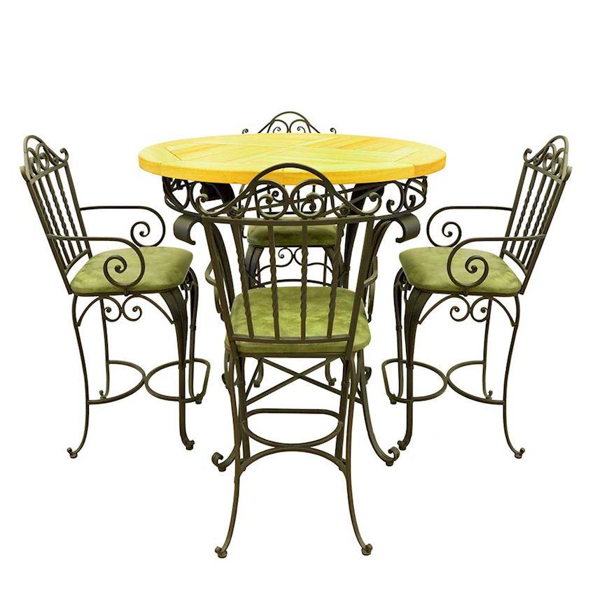 Ferforje Teak Round Table Set