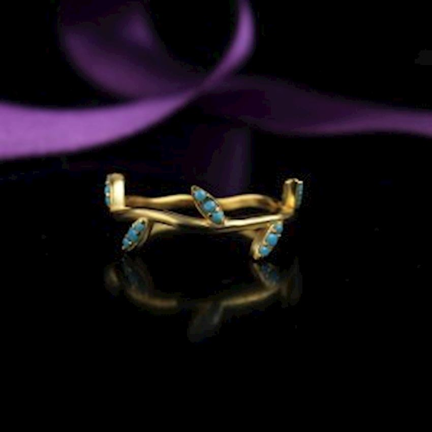 Firuze Zirkon Gold Plated Silver Women Ring
