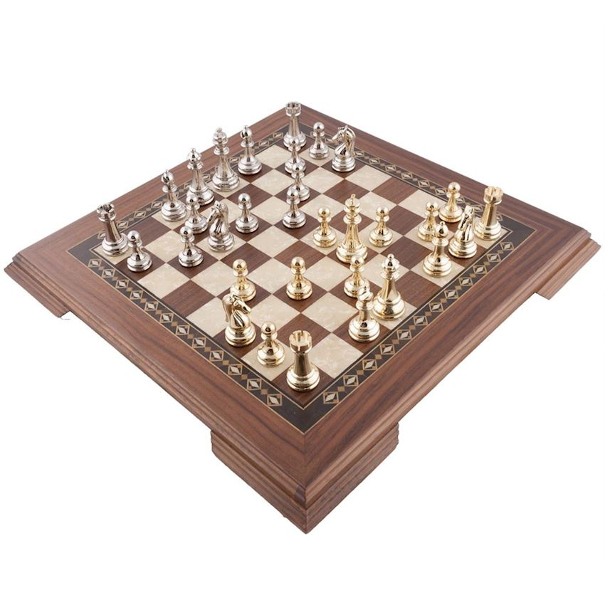 FLAT LEG WALNUT CHESS SET - METAL FIGURED (2655.WAL.5013)