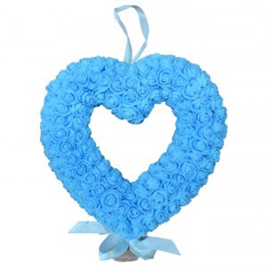Floral Heart Shaped Door Ornament Blue Christmas Decoration Supplies