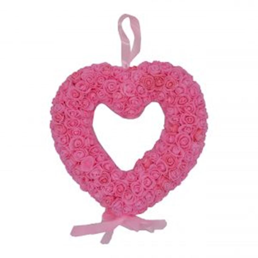 Floral Heart Shaped Door Ornament Pink Christmas Decoration Supplies
