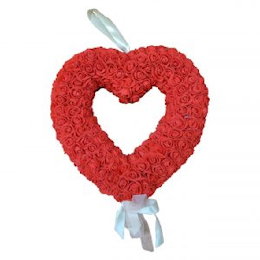 Floral Heart Shaped Door Ornament Red Christmas Decoration Supplies