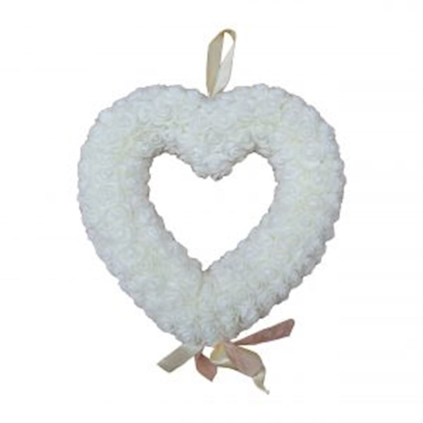 Floral Heart Shaped Door Ornament White Christmas Decoration Supplies