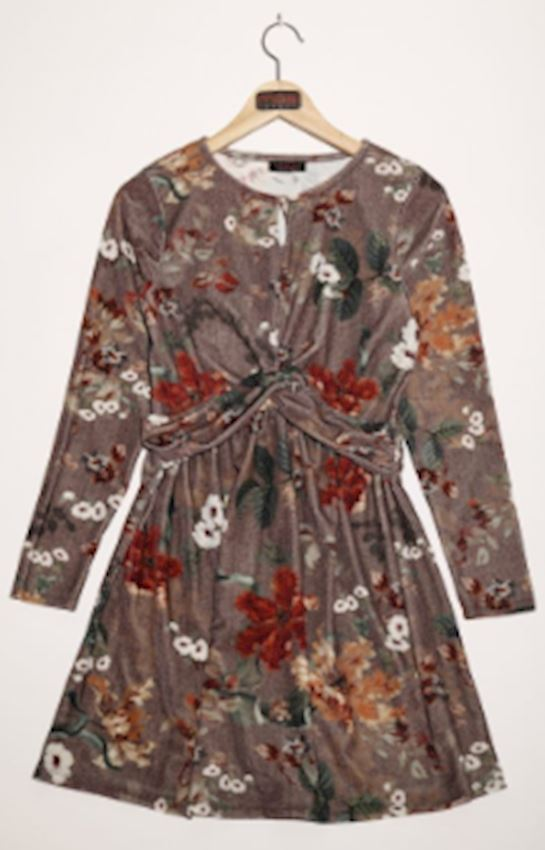 Flower Patterned Brown Dress