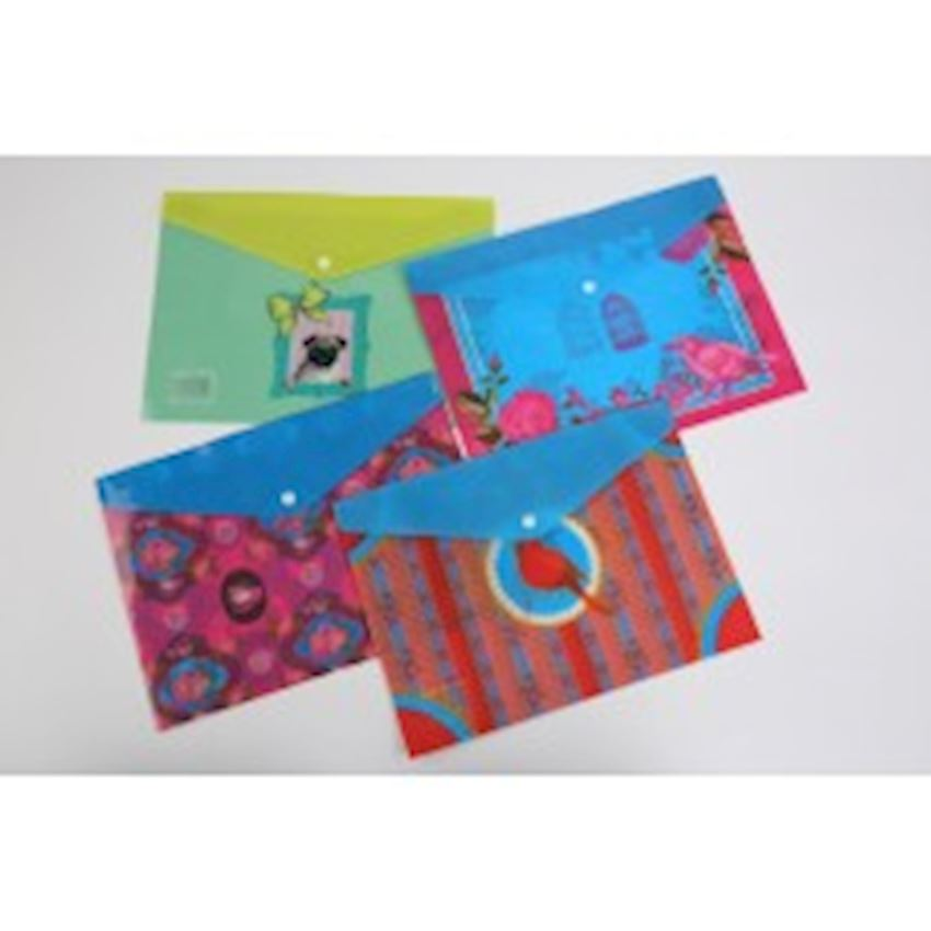 Flower Patterned Snaps File File Folder Accessories