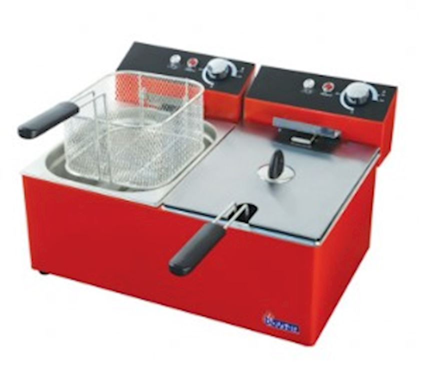 FOOD FRYER RED 5 + 5 LT ELECTRIC FRYER