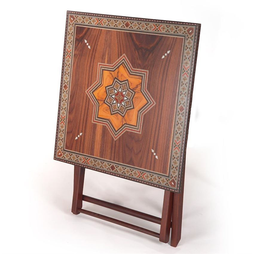 Furniture Accessories-MOSAIC SEDEF EMBROIDERED TABLE 70X70X72 cm