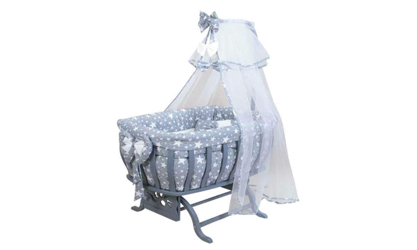 GENÇ ARCHI baby crib Special Series with Bow Gray1 Stars Textile Children's Cribs