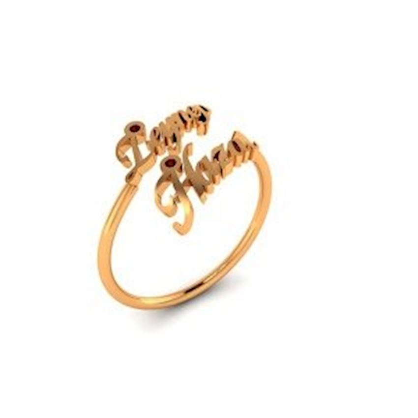 Gold Plated Women's Silver Ring with Two Names Zircon Stone