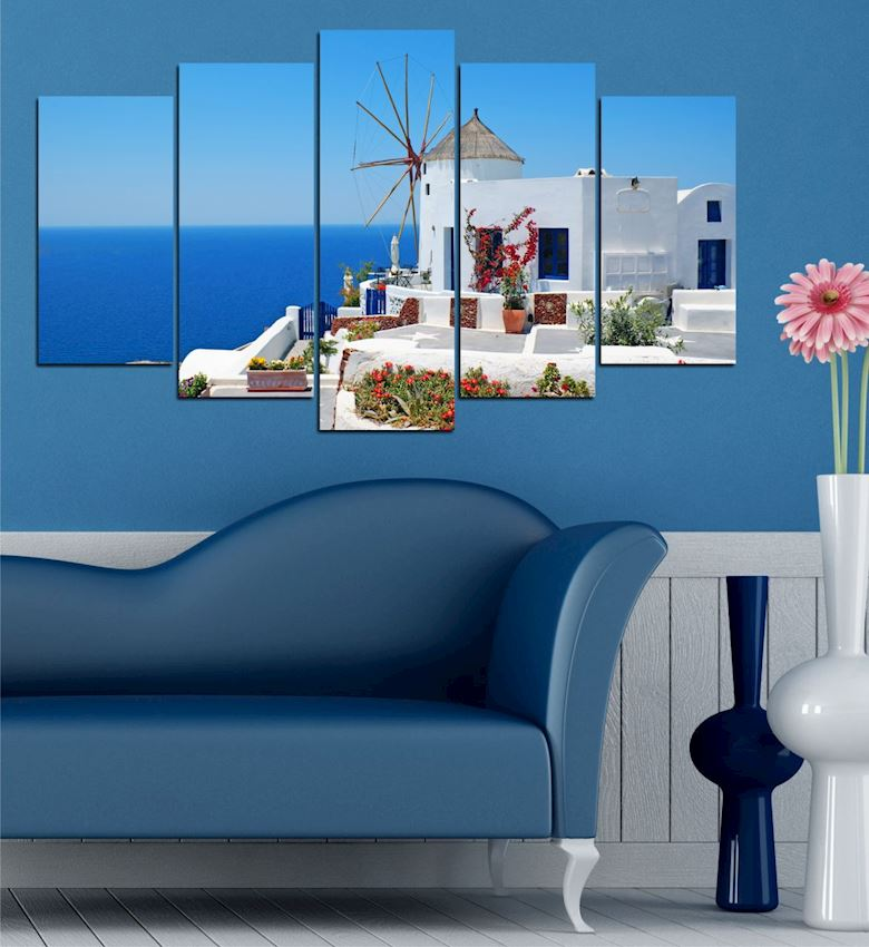 Greek Houses 5 Pieces Mdf Table 102x60x2.1cm