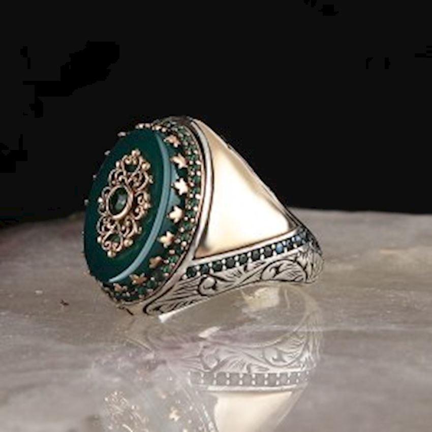Green Agate Zirkon 925 Sterling Mens Silver Ring