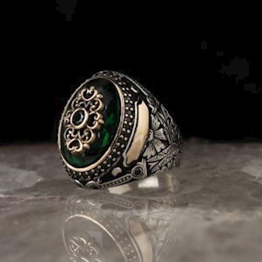 Green Zircon Sterling Silver Men Ring