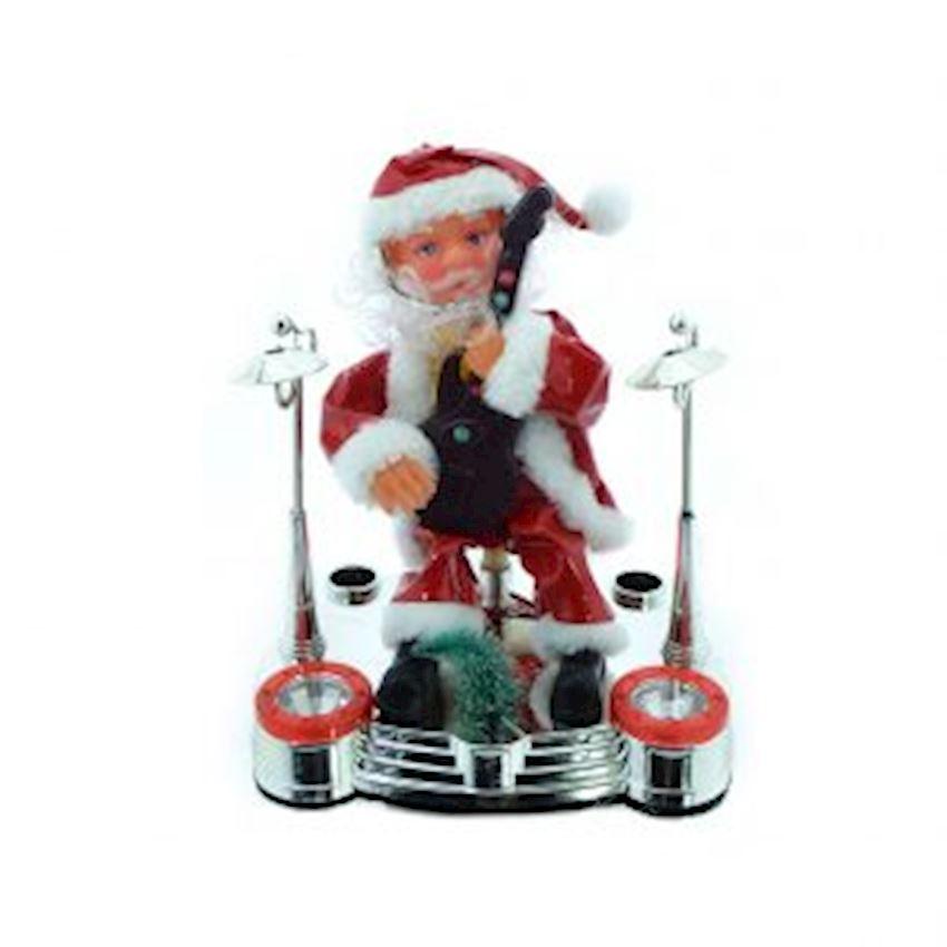 Guitar Playing Santa Claus Figurine 20cm Christmas Decoration Supplies