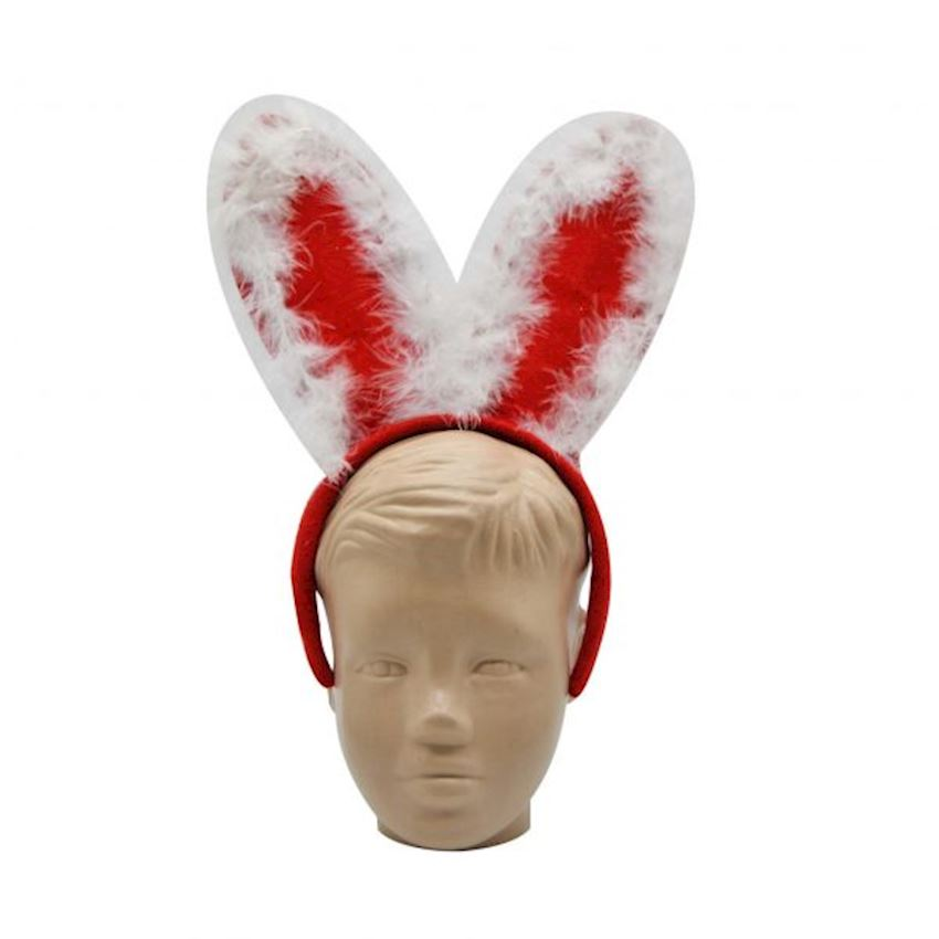Hairy Christmas Party Crown with Rabbit Ears Red Christmas Decoration Supplies