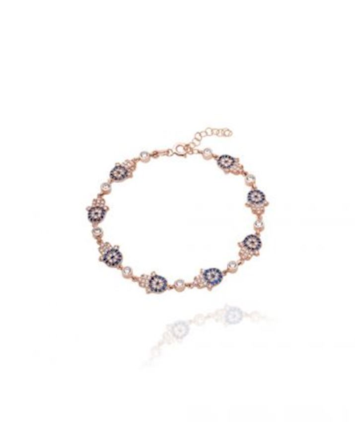 Hamsa Bracelet with Evil Eye, Blue