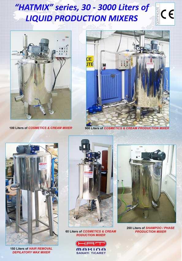 """""""HATMIX"""" series, COLD & HOT PROCESS, 30 - 3000 Liters of LIQUID MIXERS"""