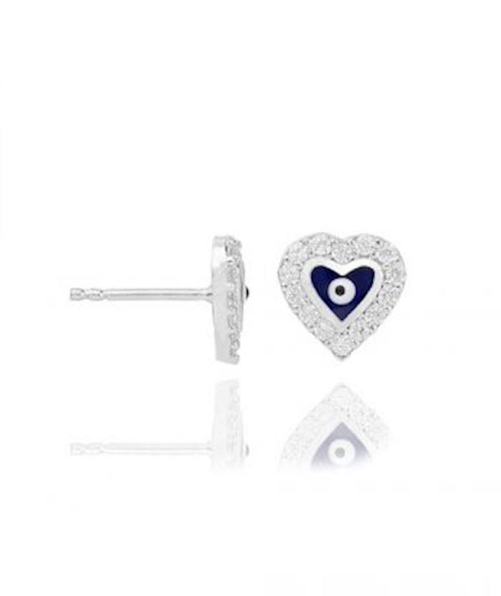 Heart with Evil Eye Stud Earrings, Blue