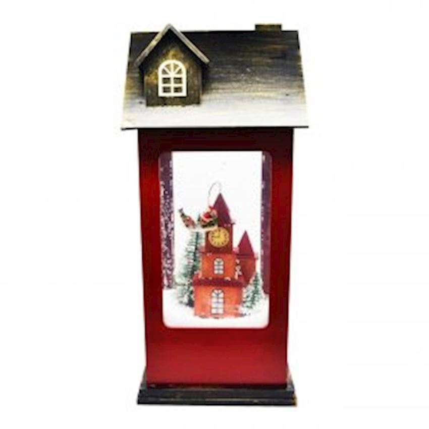 Home Shaped Big Size Wooden Santa Claus Musical Snow Globe 50cm Red-Coffee Color
