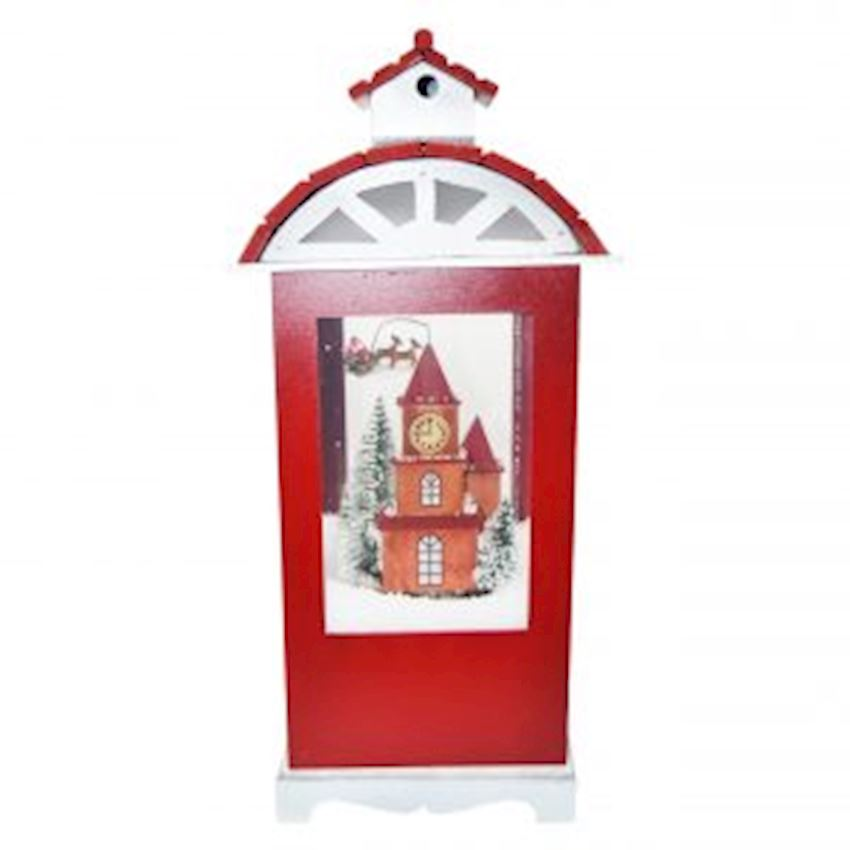 House Shaped Big Size Wooden Santa Claus Musical Snow Globe 50cm Red-White Christmas Decoration Supplies