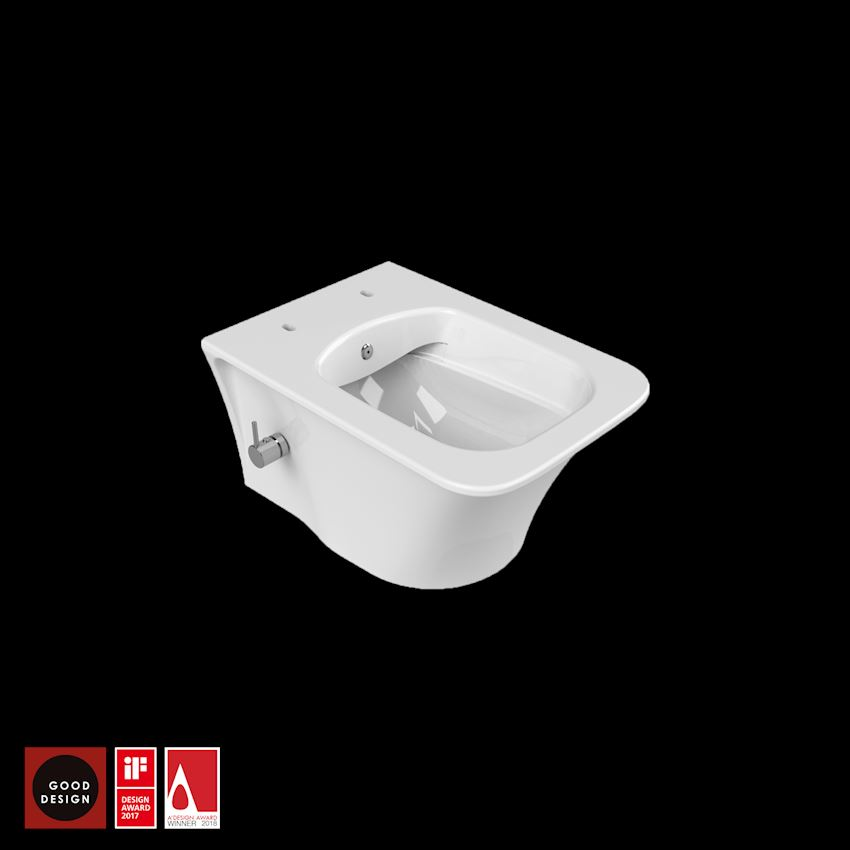 Ibiza Wall Hang, Rimless (Wall Hang Closet With Integrated Bidet Faucet) Toilet Bowls